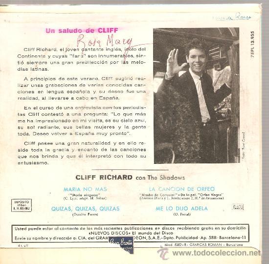 Discos de vinilo: EP CLIFF RICHARD & THE SHADOWS : MARIA NO MAS - Foto 2 - 25060632