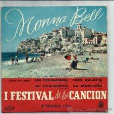 Discos de vinilo: MONNA BELL - I FESTIVAL DE LA CANCION BENIDORM 1959- UN TELEGRAMA,DON QUIJOTE / MI PLATERITO, .... Lote 25184080
