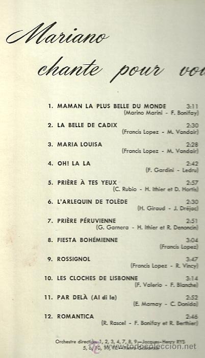 Discos de vinilo: LUIS MARIANO LP SELLO PATHÉ EDITADO EN CANADA. - Foto 2 - 25205424
