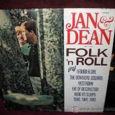 Discos de vinilo: LP JAN & DEAN FOLK AND ROLL ED. USA DISCO Y PORTADA VG+ ORIGINAL 1965 (CANCIONES DE P.F SLOAN. Lote 26830956