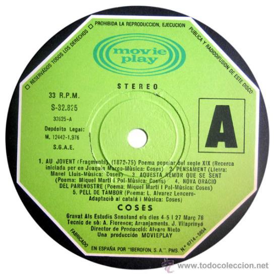 Discos de vinilo: COSES – VIA FORA! – LP SPAIN 1976 – MOVIEPLAY S-32825 - Foto 4 - 25526094