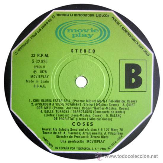 Discos de vinilo: COSES – VIA FORA! – LP SPAIN 1976 – MOVIEPLAY S-32825 - Foto 5 - 25526094