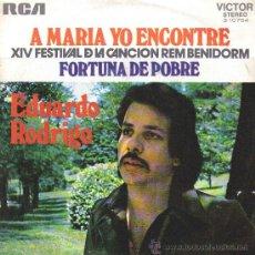 Discos de vinilo: EDUARDO RODRIGO-A MARIA YO ENCONTRE + FORTUNA DE POBRE SINGLE VINILO 1972 PROMOCIONAL SPAIN. Lote 25555461