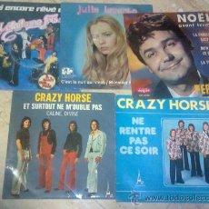 Discos de vinilo: LOTE 4 SINGLES Y UN EP GRUPOS FRANCESES-CRAZY HORSE/PIERRE PERRET/JULIA LEVENTO /IL ETAIT UNE FOIS. Lote 27179948