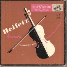 Discos de vinilo: CAJA RCA VICTOR 4 SINGLES: JASCHA HEIZFELTZ - ENCORES (ARENSKY, BACH, DEBUSSY, POLDOWSKY, NIN, ETC). Lote 25719867