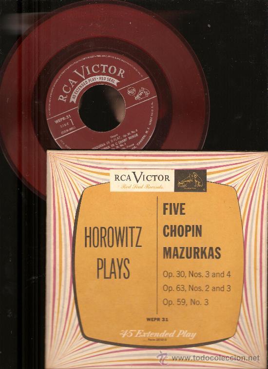 4 SINGLES RCA VICTOR & URANIA : WAGNER, CHOPIN, HOROWITZ, STRAUSS, BEETHOVEN, HUGO STEURER (Música - Discos - Singles Vinilo - Clásica, Ópera, Zarzuela y Marchas)