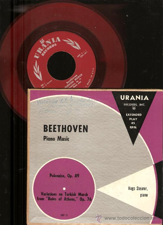 Discos de vinilo: 4 SINGLES RCA VICTOR & URANIA : WAGNER, CHOPIN, HOROWITZ, STRAUSS, BEETHOVEN, HUGO STEURER - Foto 2 - 25720212