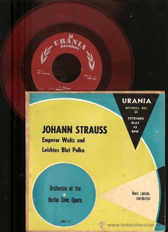 Discos de vinilo: 4 SINGLES RCA VICTOR & URANIA : WAGNER, CHOPIN, HOROWITZ, STRAUSS, BEETHOVEN, HUGO STEURER - Foto 3 - 25720212