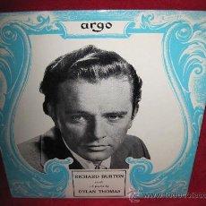Discos de vinilo: LP-RICHARD BURTON-ARGO 503-UK-1955-NOVELTY-RECITADO DE POESIA DEL ACTOR. Lote 26087637