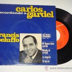 Discos de vinilo: VINILO EP FRANCIS PELUFFO RECUERDA A CARLOS GARDEL, AÑO 1965. Lote 26183160
