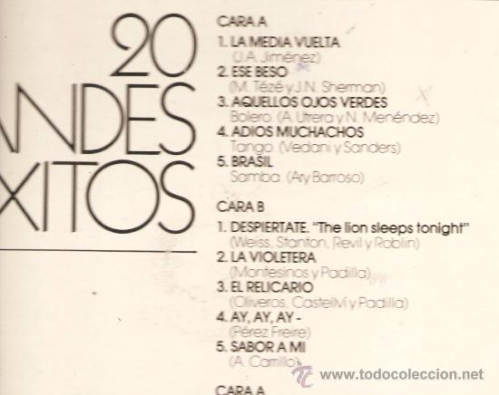 Discos de vinilo: DOBLE LP GLORIA LASSO - 20 GRANDES EXITOS - TEMAS DE ARY BARROSO, AGUSTIN LARA, MAESTRO PADILLA - Foto 2 - 26426707