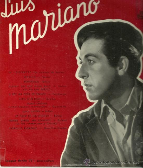 LUIS MARIANO 10¨ (25 CTMS.) SELLO LA VOZ DE SU AMO EDITADO EN FRANCIA. (Música - Discos - LP Vinilo - Solistas Españoles de los 50 y 60)
