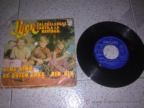 DIFICILISIMO VINILO DE PIPI CALZASLARGAS (CANTA A LA NAVIDAD) UNICO!!!!! (Música - Discos - Singles Vinilo - Música Infantil)