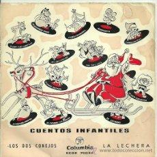 Discos de vinilo: CUENTOS INFANTILES EP SELLO COLUMBIA AÑO 1962 LOS DOS CONEJOS Y LA LECHERA.. Lote 26733452