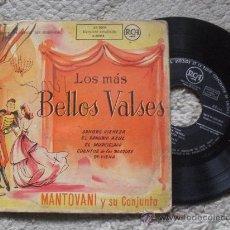 Discos de vinilo: LOS MAS BELLOS VALSES, SINGLE, MANTOVANI Y SU CONJUNTO, TITULOS EN LA CARATULA. Lote 26743580