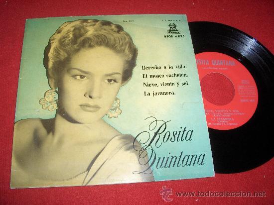 """ROSITA QUINTANA DERECHO A LA VIDA /EL MOSCO CACHETON/NIEVE, VIENTO..+1 7"""" EP 1958 EDICION ESPAÑOLA (Música - Discos de Vinilo - EPs - Grupos y Solistas de latinoamérica)"""