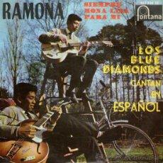 Discos de vinilo: LOS BLUE DIAMONDS CANTAN EN ESPAÑOL - EP SINGLE 7'' - EDITADO EN ESPAÑA - RAMONA + 3 - FONTANA 1961.. Lote 26909165