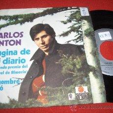 """Discos de vinilo: CARLOS ANTON PAGINA DE MI DIARIO / UN HOMBRE VIVIÓ 7"""" SINGLE 1972 ARIOLA. Lote 26985356"""