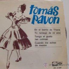 Discos de vinilo: TOMAS PAVON EP EN EL BARRIO DE TRIANA -GUITARRA MELCHOR DE MARCHENA. Lote 27218223