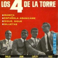 Discos de vinilo: LOS 4 DE LA TORRE - EP VINILO 7'' - EDITADO EN ESPAÑA - ESPAÑOLA ABANÍCAME + 3 - BELTER 1965. Lote 27232685