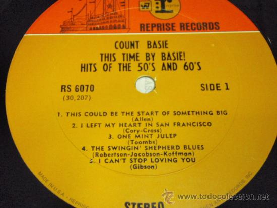 Discos de vinilo: COUNT BASIE 'THIS TIME BY BASIE! HITS OF THE 50'S AND 60'S' USA 1960 LP33 REPRISE RECORDS - Foto 3 - 27320101