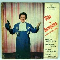 Disques de vinyle: NIÑA DE ANTEQUERA ENTRE LOS MONTES DE SAL EMPEZAREMOS POR CAI 1963 SINGLE 45 RPM VINILO. Lote 27494621