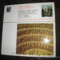 Discos de vinilo: MUSICA IBERICA I HASTA EL SIGLO XV LP PORTADA DOBLE MONODIA..POLIFONIA.VILLANCICOS..URREDA CORNADO . Lote 27539318
