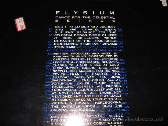 Discos de vinilo: LP Doble ELYSIUM DANCE FOR THE CELESTIAL BEINGS WARNER-CHAPELL 1995 GOA RARO Y JOYA - Foto 4 - 27605836
