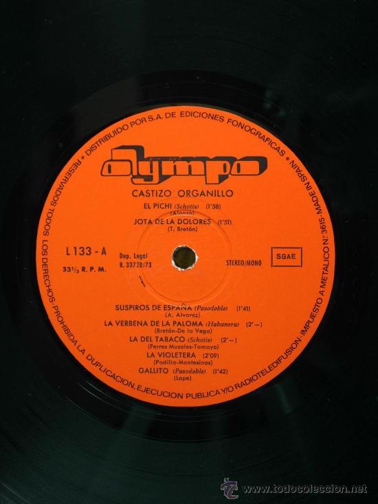 Discos de vinilo: Castizo organillo Pichi Jota Dolores Suspiros de España La Violetera España Cañi 1973 LP 33 rpm vini - Foto 2 - 27659266