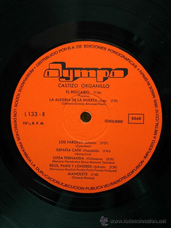 Discos de vinilo: Castizo organillo Pichi Jota Dolores Suspiros de España La Violetera España Cañi 1973 LP 33 rpm vini - Foto 3 - 27659266