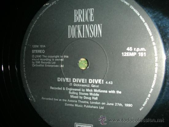 Discos de vinilo: BRUCE DICKINSON- IRON MAIDEN- DIVE! DIVE! DIVE! - MAXI EP 12 - Foto 2 - 27901917