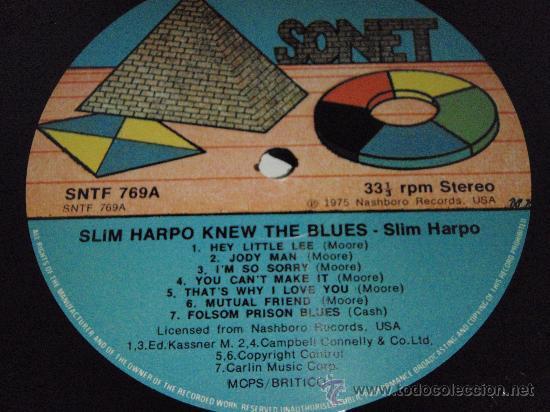 Discos de vinilo: SLIM HARPO - HE KNEW THE BLUES, UK 1978 LP SONET - Foto 2 - 2065468