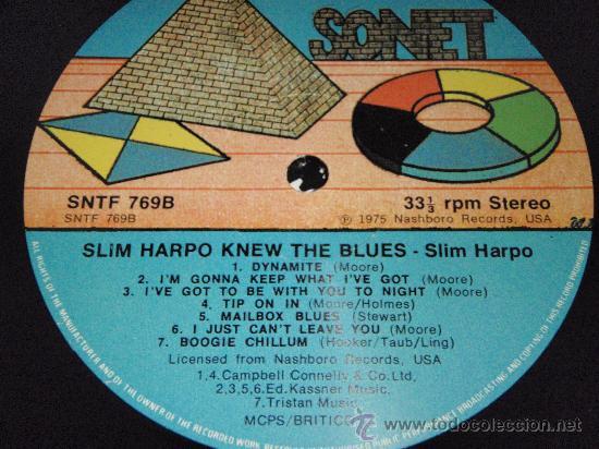 Discos de vinilo: SLIM HARPO - HE KNEW THE BLUES, UK 1978 LP SONET - Foto 3 - 2065468