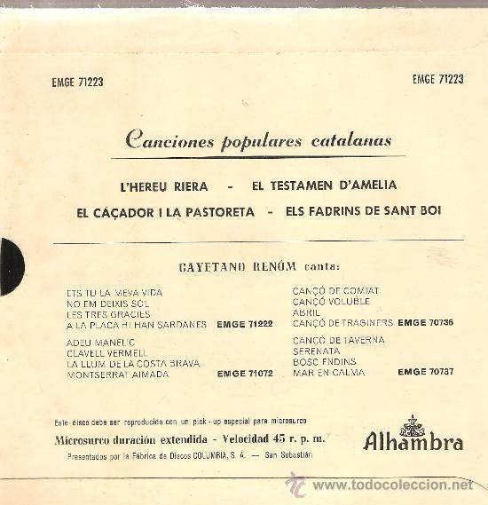 Discos de vinilo: EP CAYETANO RENOM - L´HEREU RIERA (4 CANÇONS ) - DISCO FIRMADO POR EL TENOR - Foto 2 - 66040054