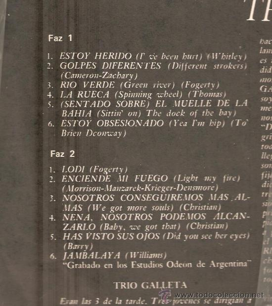 Discos de vinilo: LP TRIO GALLETA - ESTOY HERIDO - VERSIONES ROCK SOUL DE THE DOORS, CREEDENCE, CHRISTIE, ETC - Foto 3 - 27789867