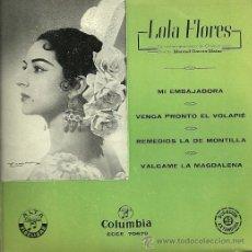 Discos de vinilo: LOLA FLORES EP SELLO COLUMBIA AÑO 1958. Lote 27791276