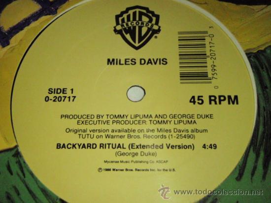 Discos de vinilo: Miles Davis – Backyard Ritual PROMO USA,1986 Warner Bross Records - Foto 3 - 27832549