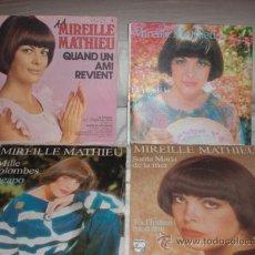 Discos de vinilo: MIREILLE MATHIEU-LOTE 4 SINGLES FRANCESES. Lote 27885045