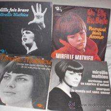 Discos de vinilo: MIREILLE MATHIEU-LOTE 4 SINGLES FRANCESES. Lote 27885079