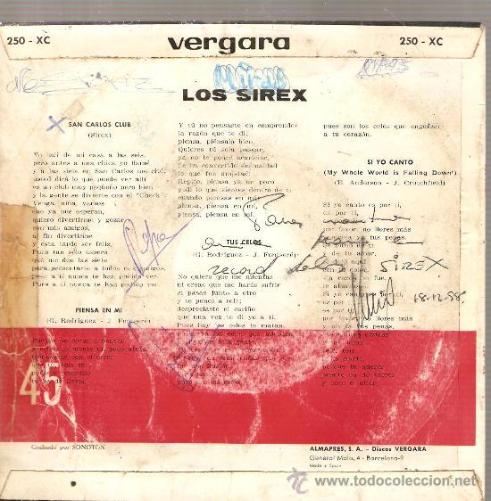 Discos de vinilo: EP LOS SIREX : SAN CARLOS CLUB - Foto 2 - 27961465
