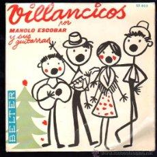 Discos de vinilo: SINGLE DE VILLANCICOS POR MANOLO ESCOBAR Y SUS GUITARRAS. Lote 28088881