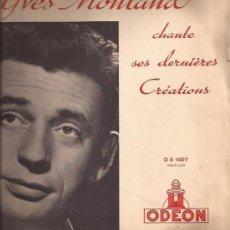 Discos de vinilo: LP-25 CMS-YVES MONTAND-ODEON 1007-FRANCE. Lote 28088992