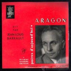 Discos de vinilo: SINGLE DE ARAGON. POETES D'AUJOUR D'HUI. Lote 28089000