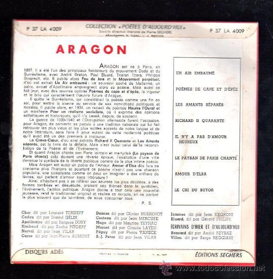 Discos de vinilo: SINGLE DE ARAGON. POETES D'AUJOUR D'HUI - Foto 2 - 28089000