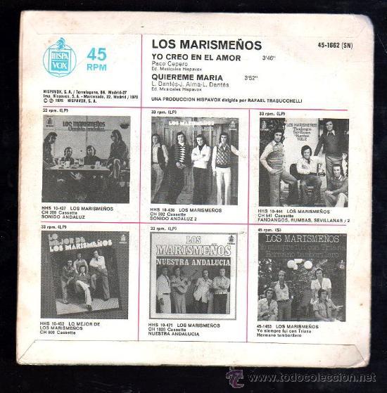 Discos de vinilo: SINGLE DE LOS MARISMEÑOS. YO CREO EN EL AMOR - Foto 2 - 28088947