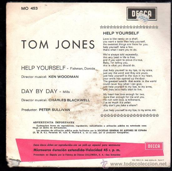 Discos de vinilo: SINGLE DE TOM JONES. HELP YOURSELF DAY BY DAY - Foto 2 - 28088762