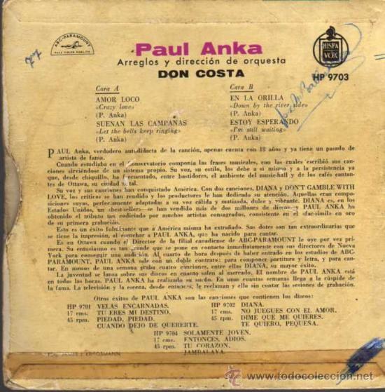 Discos de vinilo: SINGLE - PAUL ANKA - AMOR LOCO / EN LA ORILLA... - Foto 2 - 28107054