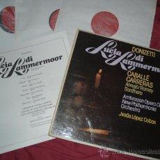 Discos de vinilo: DONIZETTI - LUCIA DI LAMMERMOOR - CABALLÉ/CARRERAS CAJA 3 LP - CON LIBRETO PHILIPS SPA. Lote 28261165