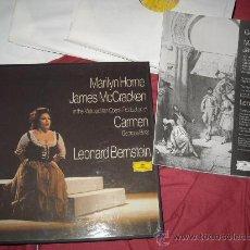 Discos de vinilo: MARILYN HORNE CARMEN BIZET BERNSTEIN CAJA 3 LP MAS LIBRETO DEUTSCHE GRAMMOPHON SPA. Lote 28261236