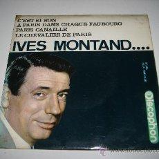 Discos de vinilo: IVES MONTAND C'EST SI BON (1964 DISCOPHON EP) JACQUES BREL GEORGES BRASSENS AZNAVOUR. Lote 28293678